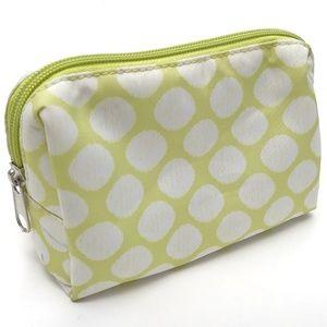 Polka Dot Zippered Make Up Toiletries Bag Green